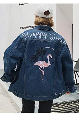 Casual Jeans Denim Cappotto Manica Lunga Breasted Base Fashion Fidanzato Giacca Baggy Giovane Blau Flamingo Elodiey Digitale Donna Stampate Single Women Outerwear TxawqTZ50