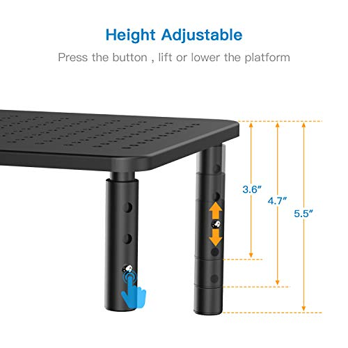 Monitor Stand Riser - 3 Height Adjustable Monitor Stand for Laptop, Computer, iMac, PC, Printer, Desktop Ergonomic Metal Monitor Riser Stand with Mesh Platform for Airflow by HUANUO by HUANUO (Image #1)