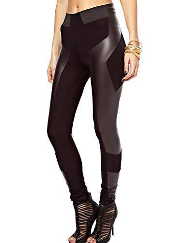 Patchwork Faux Leather (HaoDuoYi Womens PU Leather Stretchy Patchwork Skinny Leggings Pants(XL,Black))