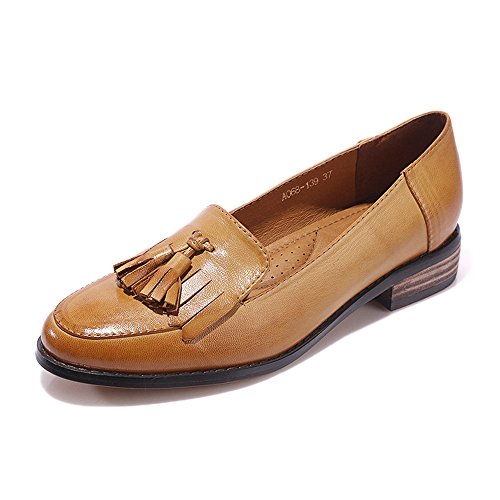 Mona Flying Women Leather Slip-On Loafers Shoes for Women Handmade Original Lady Flats Shoes Brown 5