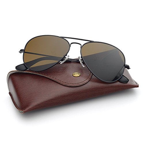 Bnus italy made corning natural glass lenses Polarized sunglasses for men women (Frame: Matte Black/Lens: Brown B15 Polarized, Metal ()