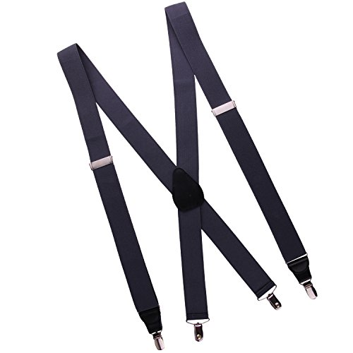 JINIU Mens Suspenders X Shape Strong Clips leather Heavy Duty Color Grey