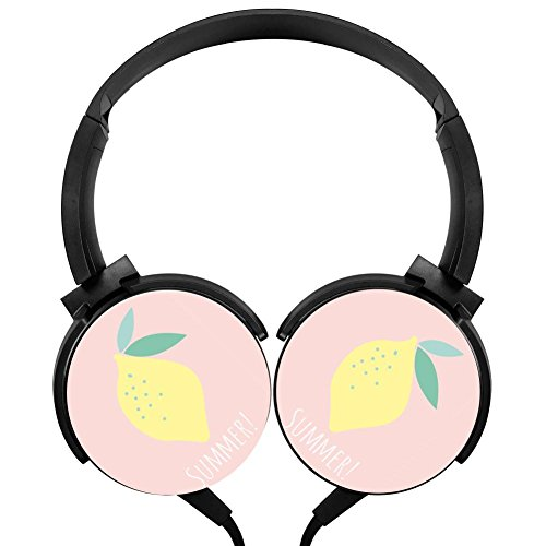 Citrine Lemon Design Headphones Adjustable Mega Bass Stereo Headset Foldable Over Ear Hi-Fi Earphone with High Sound Quality Wired 1.2m Headset Cable