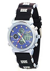 Ohsen Unisex Fashion Crystal Watchband Day Date Month Alarm Blue Dial Stopwatch Sport Watches