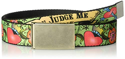 (Buckle-Down Web Belt Only God Can Judge Tattoo 1.5