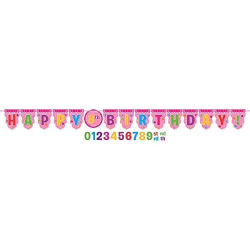 amscan Girls Candy Land Birthday Party Sweet Shop Add-an-Age Ribbon (1 Piece), Multicolor, 10 1/2' x 10