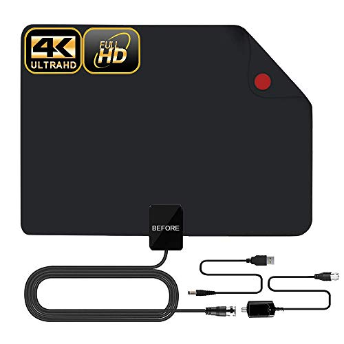 HDTV Antenna, 2019 New Indoor Digital TV Antenna 60-90 Miles Range, Amplifier Signal Booster Support 4K 1080P UHF VHF Freeview HDTV Channels-Support All Television