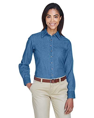 Harriton Ladies' 6.5 oz. Long-Sleeve Denim Shirt XL Light ()