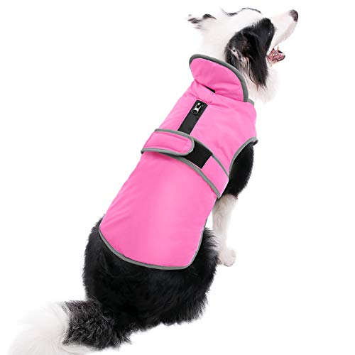 (MIGOHI Reflective Waterproof Windproof Dog Coat Cold Weather Warm Dog Jacket Reversible Stormguard Design Winter Dog Vest for Small Medium Large Dogs Pink L)