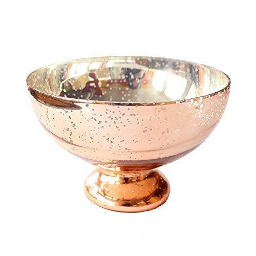 Afloral Blush Copper Mercury Glass Pedestal Bowl - 5