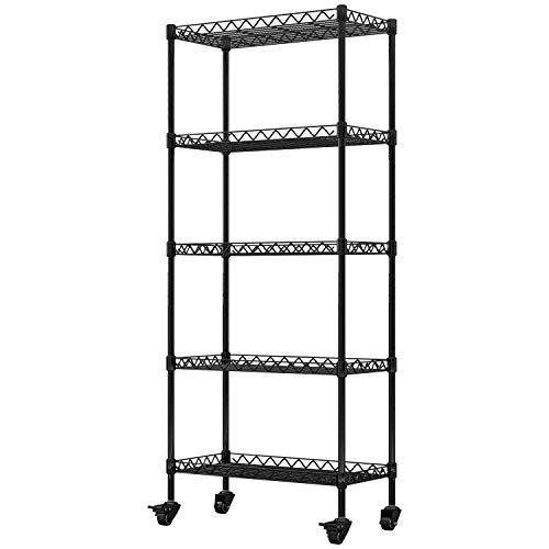 5-Shelf Shelving Storage Unit on Wheel Casters Metal Organizer Wire Rack for Home Office Kitchen Bathroom Organization…