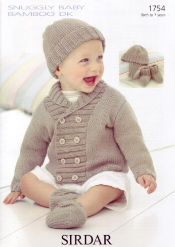 Jacket, Helmet, Hat, Booties in Snuggly Baby Bamboo DK - Sirdar Knitting Pattern 1754