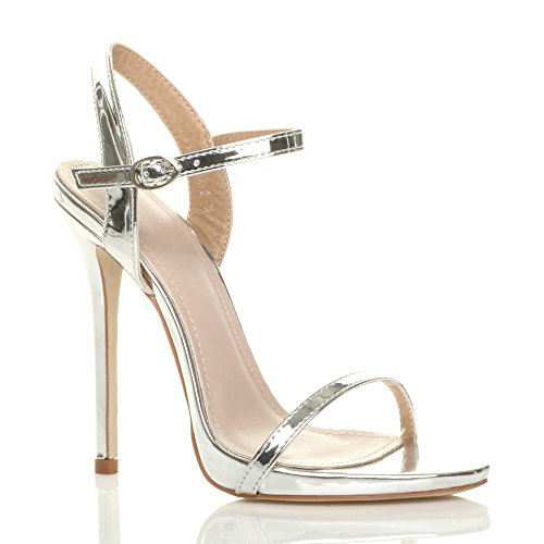 Heel Size Silver Barely Ajvani Strappy High There Women Sandals qCE0wE8P