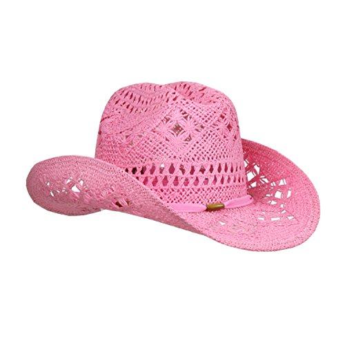 Pink Stylish Toyo Straw Beach Cowboy Hat W/Shapeable Brim, Boho Modern Cowgirl -