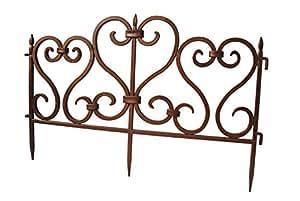 5 vallas decorativas de PVC para bordes de césped o jardín, color cobre [0945] 2,45m.