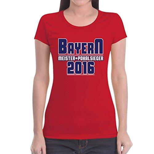 Bayern Meister und Pokalsieger 2016 Fanshirt Frauen T-Shirt Small Rot