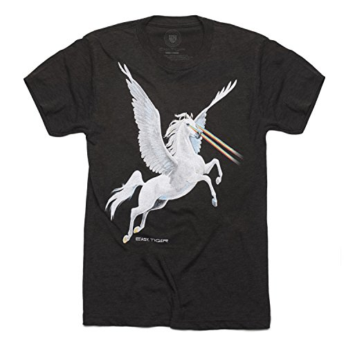 Easy Tiger Unisex Crew Neck T-Shirt, Heathered Black Pegasus (Small) - Things That Start With The Letter V