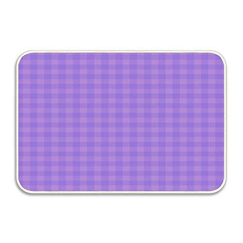 Huayuanhurug Lavender & Orchid Gingham Doormat Indoor Rug 23.6 x 15.7 inches,Durable Non-Slip Mat for Front Door Kitchen Bathroom