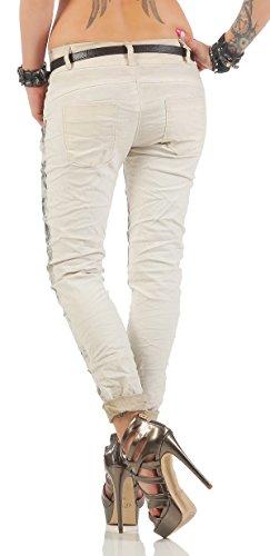 ZARMEXX Pantalones de las mujeres con los pantalones vaqueros holgados novio cinturón de los pantalones de Jeggings Chinos estrellas -Imprimir Beige