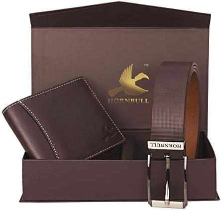 Hornbull Gift Hamper for Men   Brown Wallet and Brown Belt Men's Combo Gift Set   Leather Wallets for Men   Men's Wallet