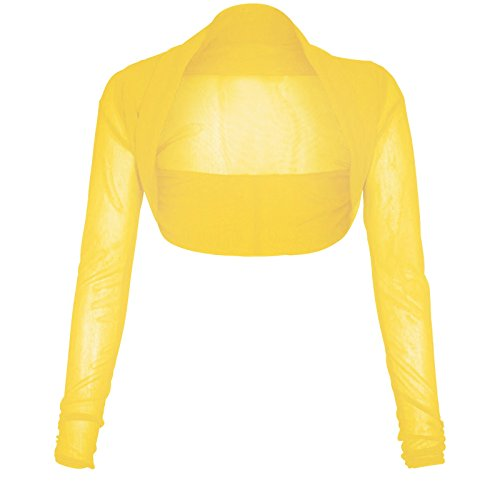 Bolero de manga larga para mujer, tallas 36 a 50 Amarillo