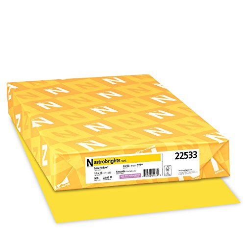 "Astrobrights Color Paper, 11"" x 17"", 24 lb / 89 gsm, Solar Yellow, 500 Sheets"