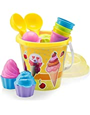 Top Race Beach Set, Ice Cream and Cake Series Mould Set, 14 Piece set with Large 9 Inch Ice Cream Bucket Yellow and Blue