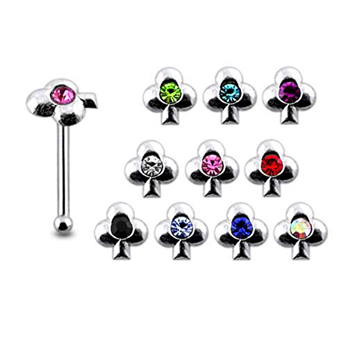 - Pack of 5 Pieces Mix Color Jeweled Clover 925 Sterling Silver 20Gx1/4 (0.8x6MM) Ball End Nose Pin