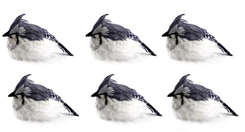 Gray & White Crested Artificial Birds (6-Pack); Imitation Feathered Birds for Wreaths, Christmas Ornaments, Flower Arrangements and More