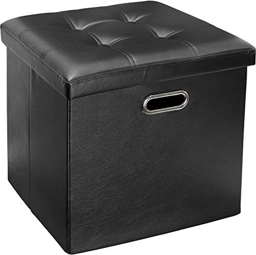 - Greenco Faux Leather, Tufted, Ottoman Stool Seat and Foot Rest, Collapsible, Versatile Storage Box-Black