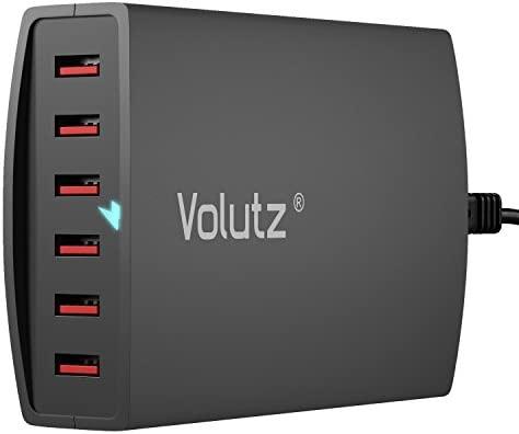 Volutz® 60 Watts, Cargador USB portátil de 6 puertos (pérdida de energía mínima) Tecnología Inteligente FluxIQ capaz de 2,4 amperios por puerto, ...
