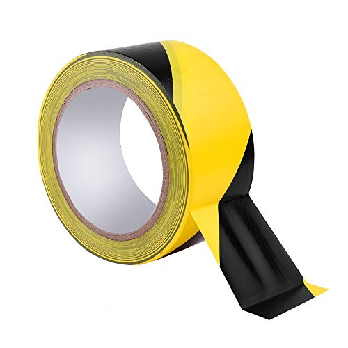 (COSMOS Adhesive Black and Yellow Color Hazard Warning Safety Stripe Tape Stripe Barricade Caution Tape for Floor Marking Safety High-Visibility, 1-7/8 IN x 108 FT)