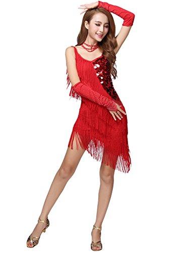 Surfwheel Sexy Latin Dance Dress With Tassel Fringe Salsa Samba Rumba Tango Dress