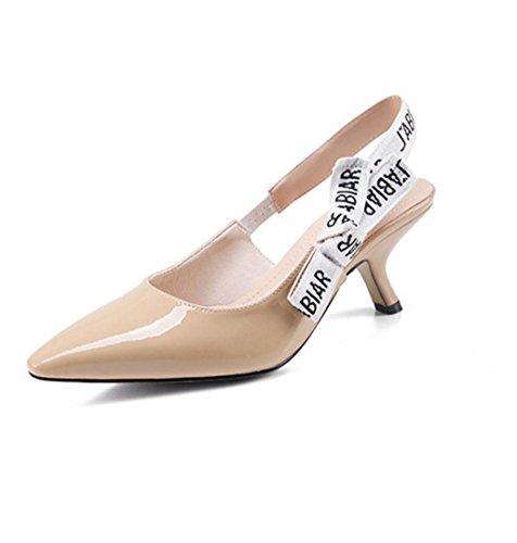 WZG La Sra señaló con un solo zapato en gatos con bajo-top zapatos cómodos zapatos de cuero de la señora de la boca baja apricot