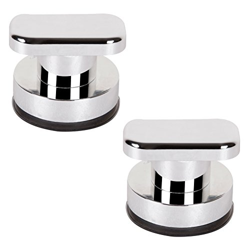 2 Pack Plastic UV Coating Surface (Silver) Super Strong Suction Cup Toilet knob Hold Suction Handle Suction Cup Shower Non-Metal Handle Suction Door Handle Suction Cup Wall Handle by Generic