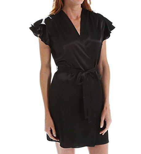 OSCAR DE LA RENTA Pink Label Women's Satin Charmeuse Short Wrap Black M/L ()