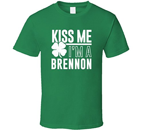 Brennon Kiss Me Im Irish Parody Custom Last Name St Patricks Day T Shirt L Irish Green (Brennon)