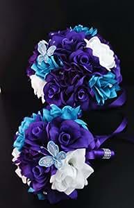 13pc wedding bridal flowers bouquets boutonniere turquoise purple silk roses. Black Bedroom Furniture Sets. Home Design Ideas