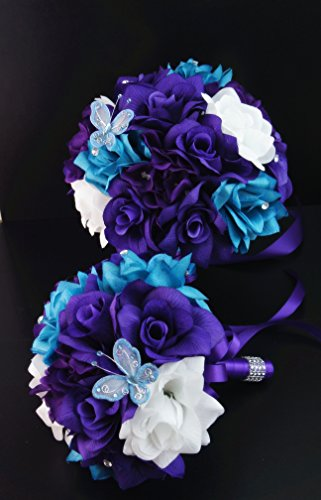 13pc Wedding Bridal Flowers Bouquets Boutonniere - Turquoise, Purple - Silk Roses Flowers by Angel Isabella