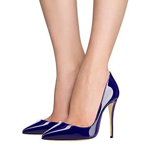 5 Scarpe 5 Sexy Di Alto Stiletto Punte 12 Pompe Ci Vestito Tacco Toe Lutalica Donne Blu Partito Brevetto Con Dimensioni XgUf66