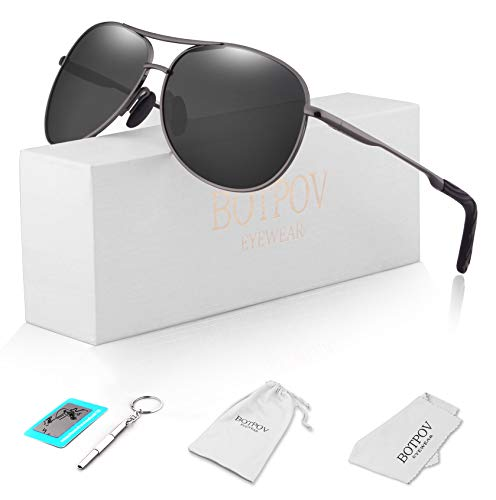 - Polarized Aviator Sunglasses for Men and Women-100 UV Protection Mirrored Lens -Metal Frame with Spring Hinges (Gun/Black)