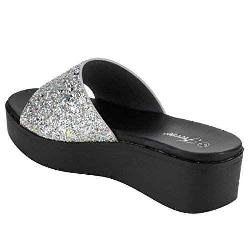 Womens Band Heel Wide Wedge Sandals Silver FOREVER Glitter FQ46 Slide qSx65xwI