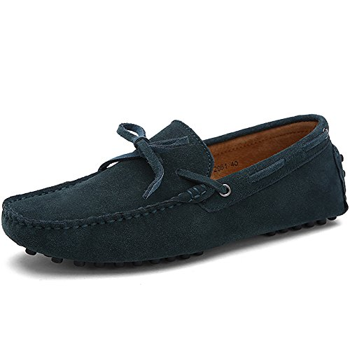 rismart Handmade Soft Big Size Slippers Shoes Green Driving Suede Men's Moccasin Loafers r6qHrp