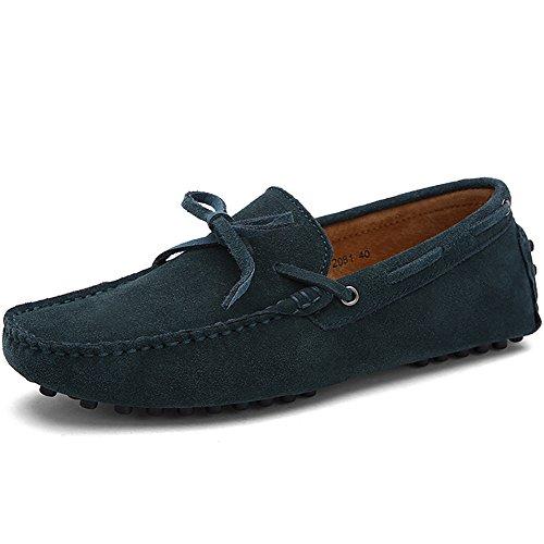 Hecho Mano Jamron Hombres Talla Verde a de Conducción Mocasines Gamuza Zapatillas Zapatos Suave Grande 0z1rwUx0