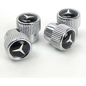 BP Valve Stem Caps, Tire Valve Stem Caps for Mercedes Benz, 4 Pcs Silver
