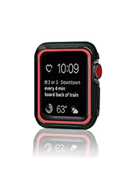 Lenfech Funda Deportiva para Apple Watch de 38mm y 42mm Caratula/Protector/Carcasa para iWatch de 38mm y 42mm. Series 1, 2, 3 Sport Case for Apple iWatch. Disponible en 7 Colores. (Negro-Rojo, 42mm)