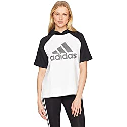 adidas Womens Athletics Fashion Full Zip Short sleeve Hoody, White/Black/Black, X-Small