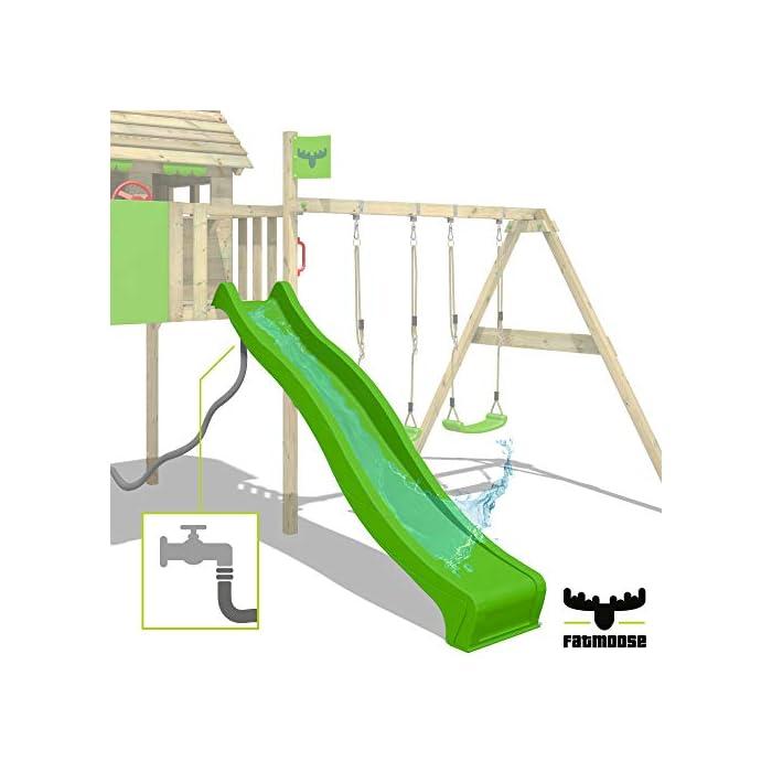 41zf EZDy9L Parque infantil con casita infantil en diseño tropical - Área de juegos da exterior Madera maciza impregnada a presión - Poste de columpio 9x9 cm - Calidad y seguridad aprobada Instrucciones de montaje detalladas - Varias opciones de montaje - Made in Germany