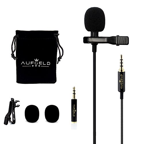 Professional Best Small Mini Lavalier Lapel Omnidirectional Condenser Microphone for Apple iPhone Android Windows Smartphones Clip On Interview Video Voice Podcast Noise Cancelling Mic Blogger Vlogger by AUFGELD