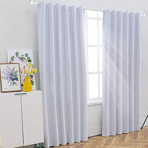 SHIELD CREATOR 100% Blackout Curtains for Bedroom 84″ Long Back Tab Rod Pocket Innovative Thermal Insulated Window Curtain Panels for Living Room, 1 PC, White Review